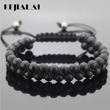 macrame bracelet with beads images Kejialai 2018 fashion jewelry double rows men bracelet 6mm jpg