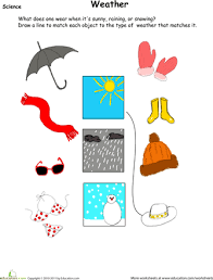 Kindergarten Weather Worksheets Weather Wear Matching Worksheets Seasons Worksheets And
