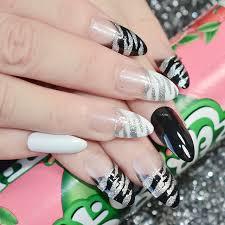 zebra pattern nail art shimmer glitter french artificial nails zebra pattern black white