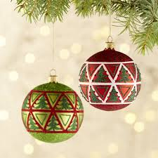 and green ornaments crate and barrel