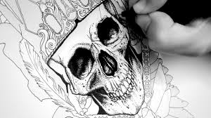 drawing a skull tattoo design with ink time lapse ty u0027s gothic