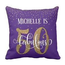 cool gifts 50 gold glitter 50 fabulous birthday on purple throw pillow fancy