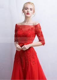lace tulle off shoulder elbow sleeves long evening dress