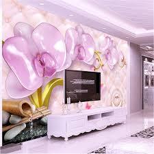 wallpaper luxury pink beibehang large custom wallpaper 3d luxury pink jewelry phalaenopsis