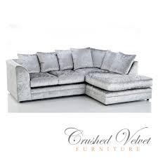Velvet Sofa Bed Michigan Crushed Velvet 4 Seater Sofa Silver Grey Right