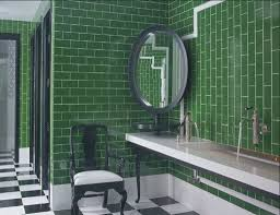 unique bathroom with corner mirror and forest green wall ceramic
