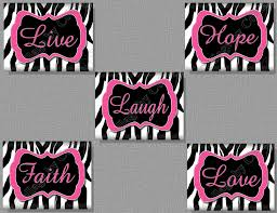 wall decor zebra gustitosmios hot pink zebra print faith hope live love by collagebycollins
