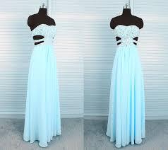 Light Blue Chiffon Dress Strapless Sweetheart Side Cut Outs Long Light Blue Chiffon