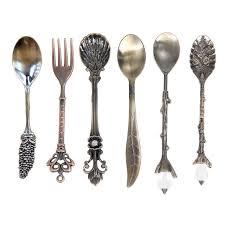 set 6 pcs vintage style 6pcs set vintage spoons fork royal style metal carved mini coffee