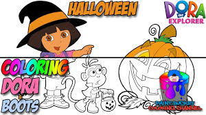 dora the explorer and boots halloween coloring page nickelodeon