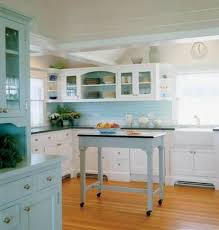 The Coastal Kitchen - wood and green kitchen seaside coastal kitchen with seafoam