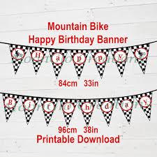 Checkered Flag Ribbon Mountain Bike Theme U0027happy Birthday U0027 Banner Birthday Party