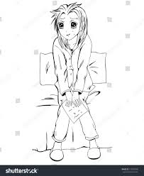 sad anime siting on bed stock vector 118375240 shutterstock