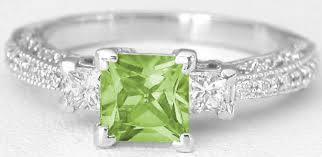 peridot engagement rings vintage princess cut peridot and princess cut diamond ring in 14k