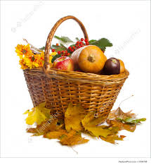 basket with fruit and vegetables isolated picture
