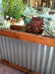 Redwood Planter Boxes by Wood And Tin Planter Box Google Search Deckorating Pinterest