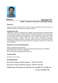 Best Qa Resume 2015 by Resume Qc Inspector Welding And Piping