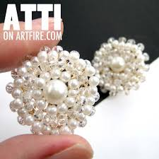 large stud earrings large pearl and wire wrapped stud earrings in ivory