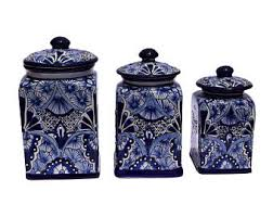 blue kitchen canisters ceramic canister set etsy
