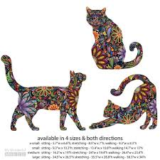 Wall Stickers Cats Cat Wall Sticker Trio Set Of 3 Stickers Repositionable Cat