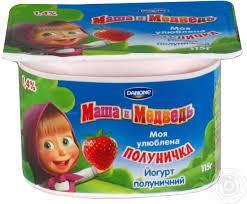 yogurt danone masha medved strawberry 1 4 115g plastic cup
