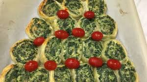 vegetarian puff pastry pinwheels shaped like a christmas tree
