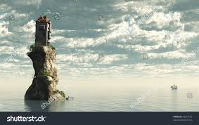 fantasy tower castle on rocky sea stock illustration 64227103