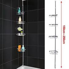 Telescopic Bathroom Shelves Shower Caddy Hanging Telescopic Corner White Shelf Kitchen