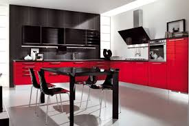 Red Kitchen With White Cabinets Red White And Black Kitchen Ideas Outofhome