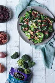 broccoli salad with crispy shallots and coconut bacon le petit eats