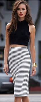 striped pencil skirt dress ala five chic ways to wear crop tops cropped top high