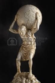 Atlas Help A Resin Statue Replica Of The Titan Atlas Of Greek Mythology