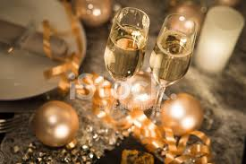 new years chagne flutes new years party table chagne flute ribon and glitter stock