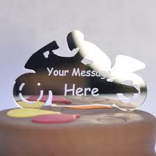 personalised motorbike birthday anniversary cake topper any
