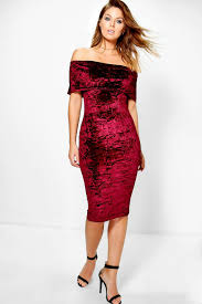 emi velvet off shoulder bardot midi dress boohoo