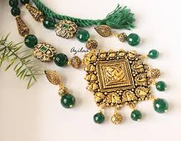 gold green necklace images Green antique gold ganesha laxmi statement handmade necklace set jpg