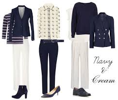 over 40 work clothing capsule how to wear navy and cream how to dress after 40 pinterest