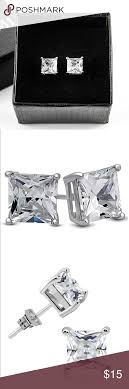 rhodium earrings sensitive ears white gold cubic zirconia square stud earrings sensitive ears