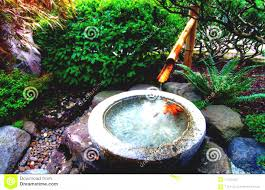bamboo fountain at japanese garden stock photo image
