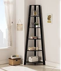 Lyss 5 Tier Corner Ladder by Amazon Com Five Tier Corner Ladder Display Bookshelf Black