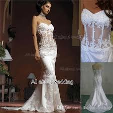 corset wedding mermaid wedding dresses strapless see through corset with lace