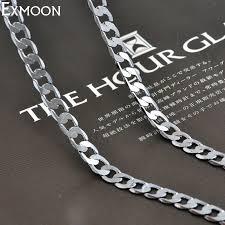 titanium chain link necklace images Ex moon men silver color titanium stainless steel chain link jpg