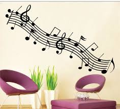 Music Note Wall Decor Black Rhythm Music Note Wall Sticker Removable Vinyl Wall Decal