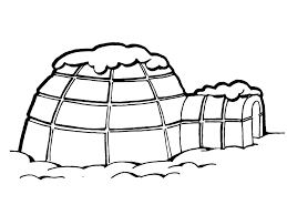 igloo with snow on roof inuit eskimo coloring page countries