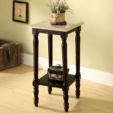 Square Accent Table Square White Marble Top Espresso Wood Plant Telephone Stand