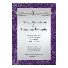 Purple And Silver Wedding Invitations Dark Purple Silver Swirls Ribbon Post Wedding U003e U003e Wedding Invitations