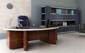 cool home office desk in corner room area with book shelves