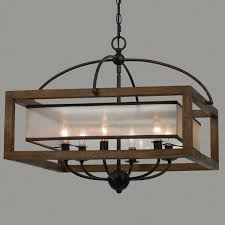 square wood frame and sheer chandelier 6 light chandeliers