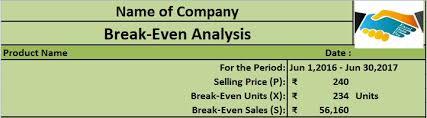 download break even analysis excel template exceldatapro