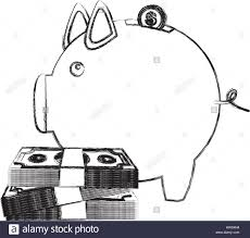 monochrome sketch of money box in shape of piggy with bills and